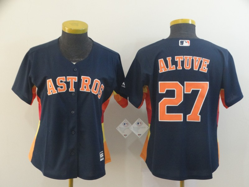Women's Houston Astros #27 Jose Altuve Navy Cool Base Stitched MLB Jersey(Run Small)