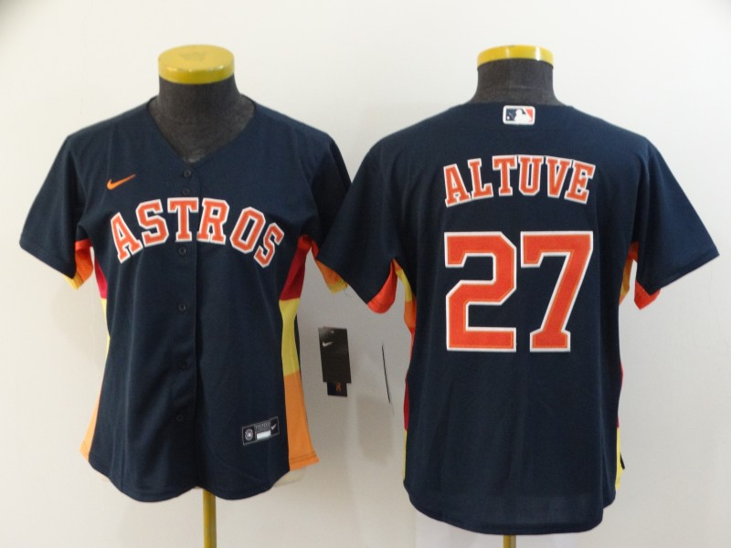 Women's Houston Astros #27 Jose Altuve 2020 Navy Cool Base Stitched MLB Jersey(Run Small)