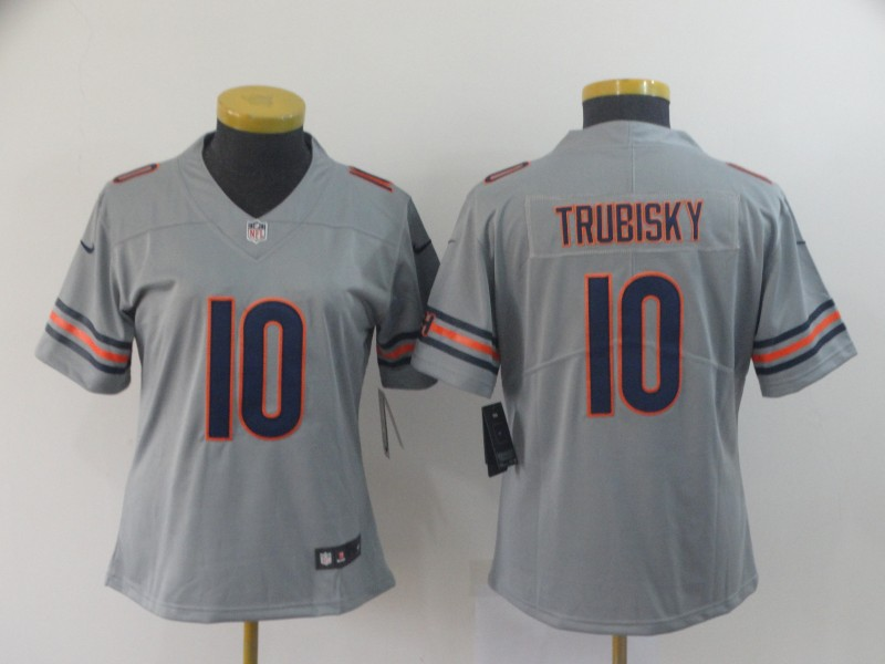 Women's Chicago Bears #10 Mitchell Trubisky 2019 Silver Inverted Legend Stitched NFL Jersey(Runs Small)