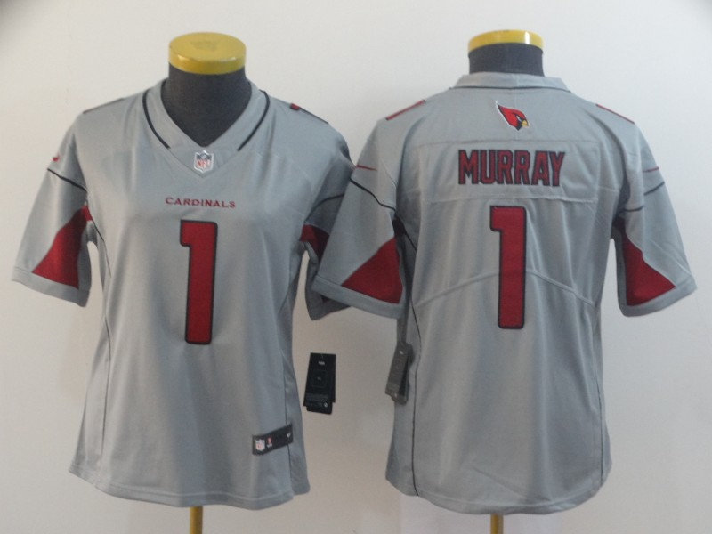 Women's Arizona Cardinals #1 Kyler Murray Silver Inverted Legend Stitched NFL Jersey(Run Small)