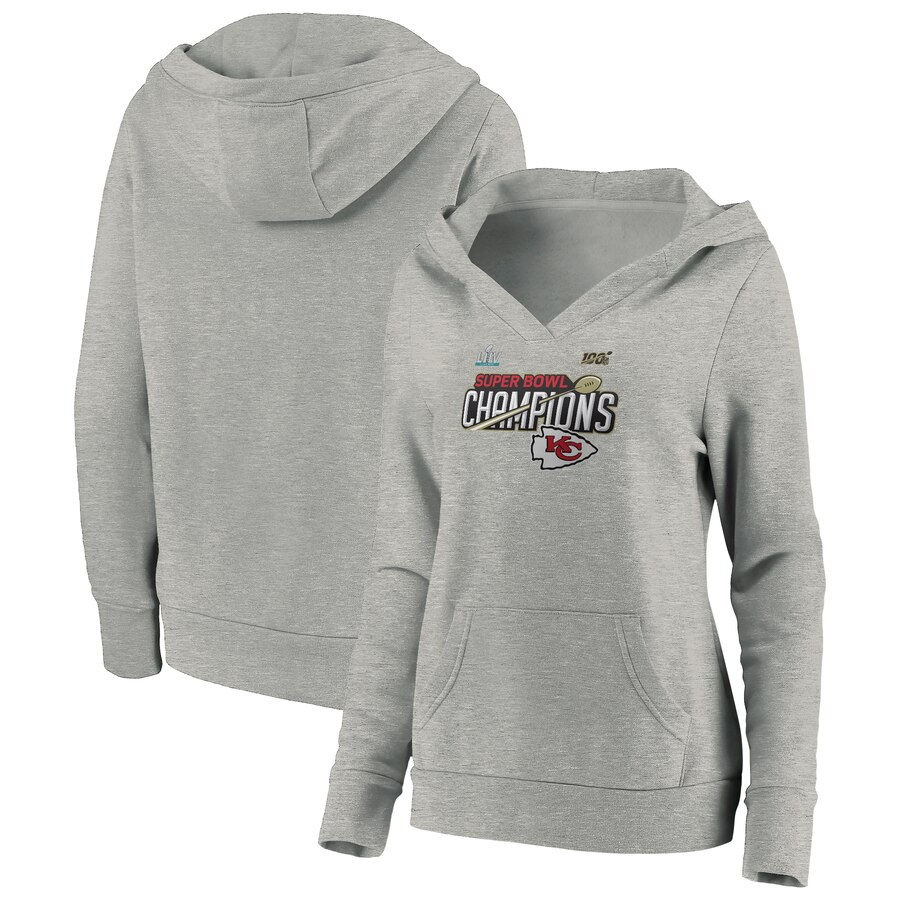 Women's Kansas City Chiefs Heathered Gray Super Bowl LIV Champions Trophy Collection Locker Room Pullover Hoodie(Run Small)