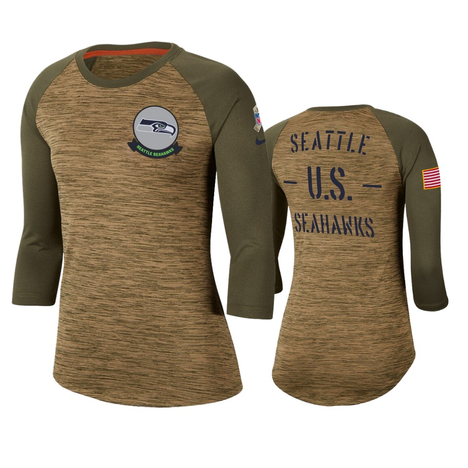 Women's Seattle Seahawks Khaki 2019 Salute to Service Legend Scoopneck Raglan 3/4 Sleeve T-Shirt(Run Small)