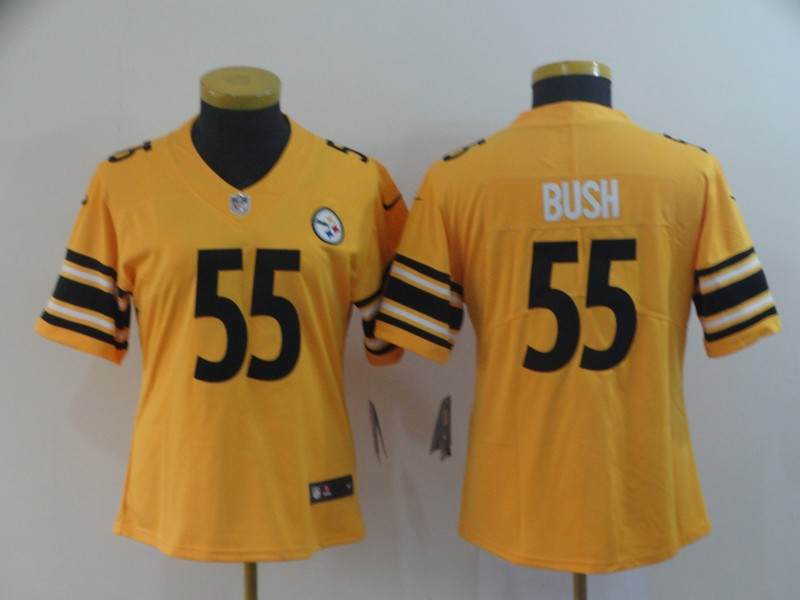 Women's Pittsburgh Steelers #55 Devin Bush Gold Inverted Legend Stitched NFL Jersey(Run Small)