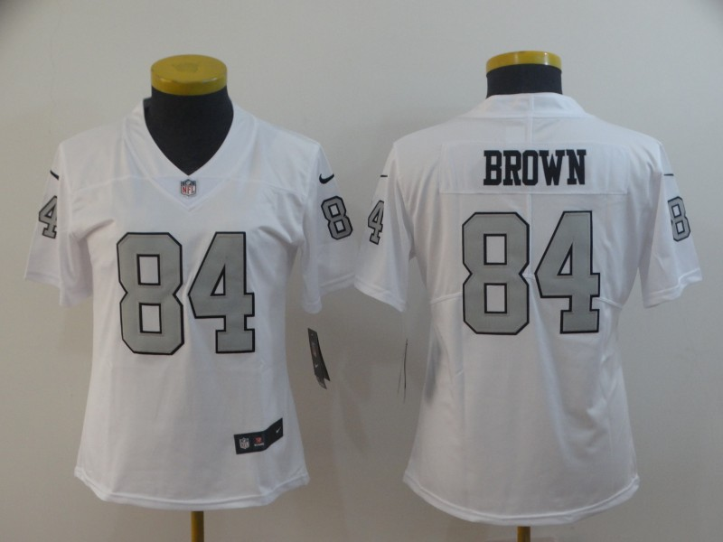 Women's Oakland Raiders #84 Antonio Brown White Limited Rush Stitched NFL Jersey(Run Small)