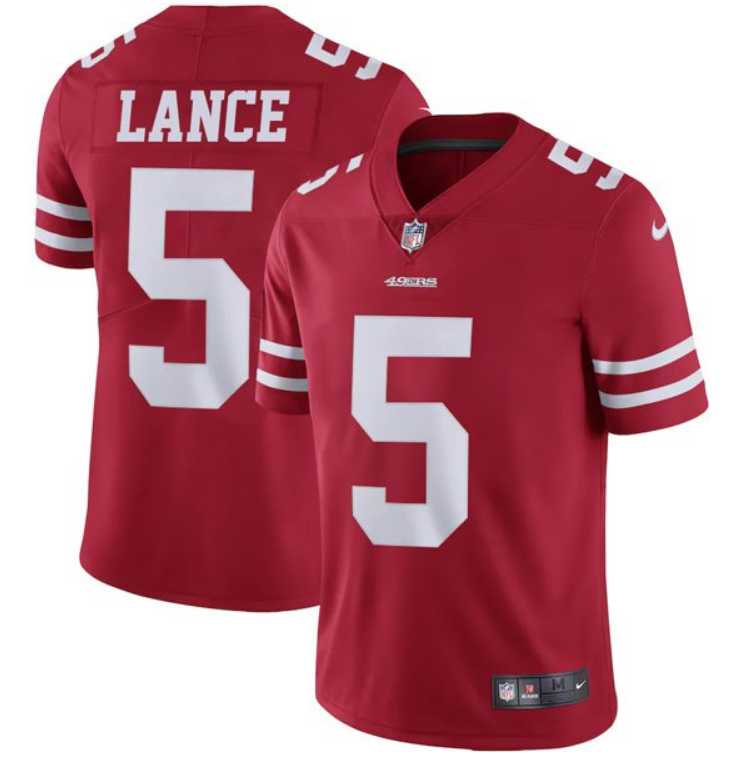 Women's San Francisco 49ers #5 Trey Lance Red Vapor Untouchable Limited Stitched Jersey(Run Small)
