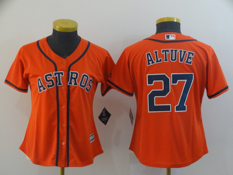 Women's Houston Astros #27 Jose Altuve Orange Cool Base Stitched MLB Jersey(Run Small)