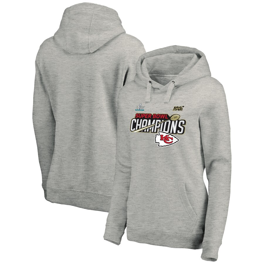 Women's Kansas City Chiefs Heathered Gray Super Bowl LIV Champions Lateral Pullover Hoodie(Run Small)