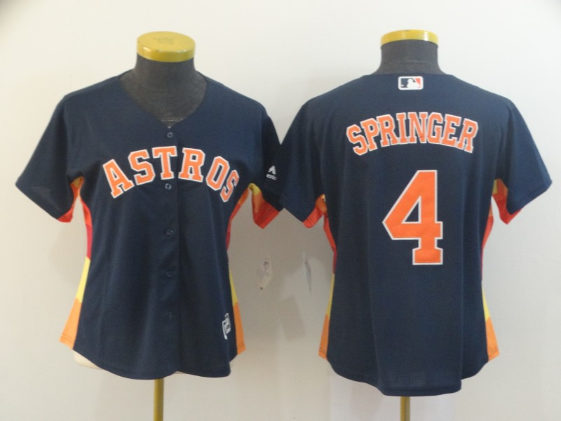 Women's Houston Astros #4 George Springer Navy Cool Base Stitched MLB Jersey(Run Small)