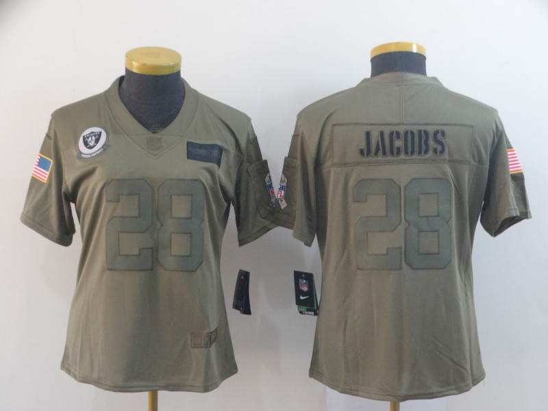 Women's Oakland Raiders #28 Josh Jacobs 2019 Camo Salute To Service Stitched NFL Jersey(Run Small)