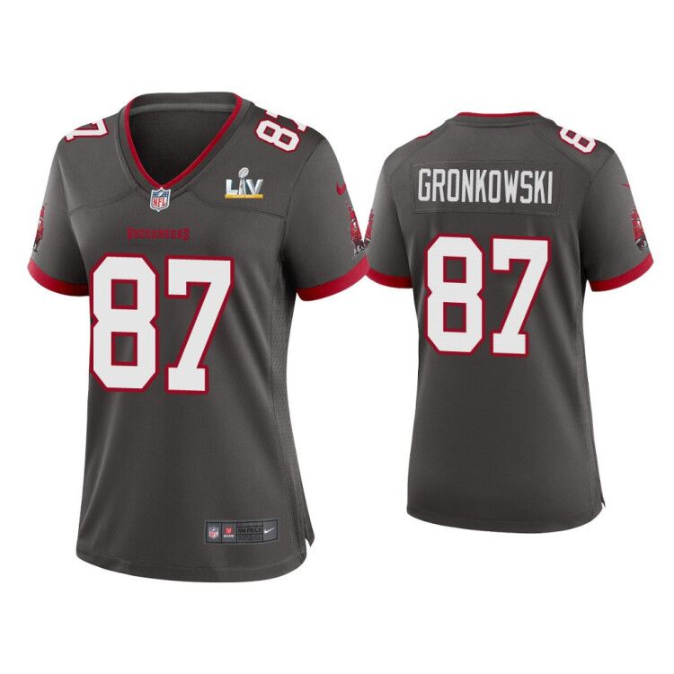 Women's Tampa Bay Buccaneers #87 Rob Gronkowski Grey 2021 Super Bowl LV Limited Stitched Jersey(Run Small)