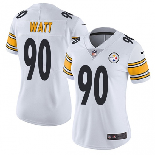 Women's Pittsburgh Steelers #90 T. J. Watt White Vapor Untouchable Limited Stitched NFL Jersey(Run Small)