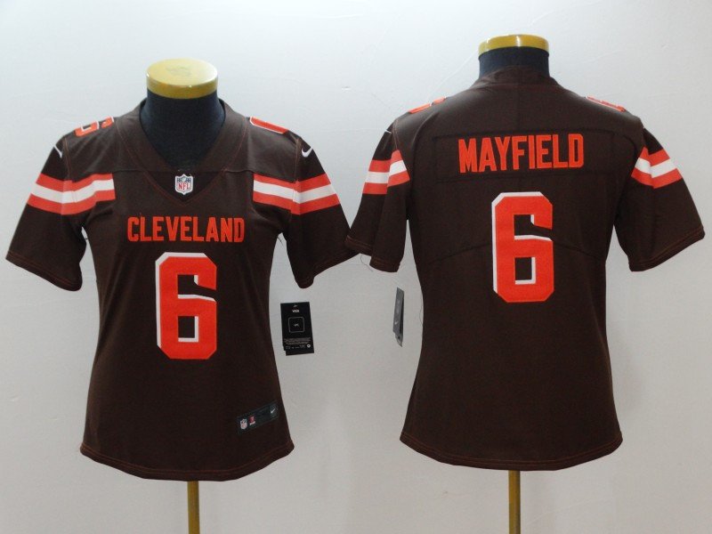 Women's Cleveland Browns #6 Baker Mayfield Brown 2018 NFL Draft Vapor Untouchable Limited Stitched Jersey