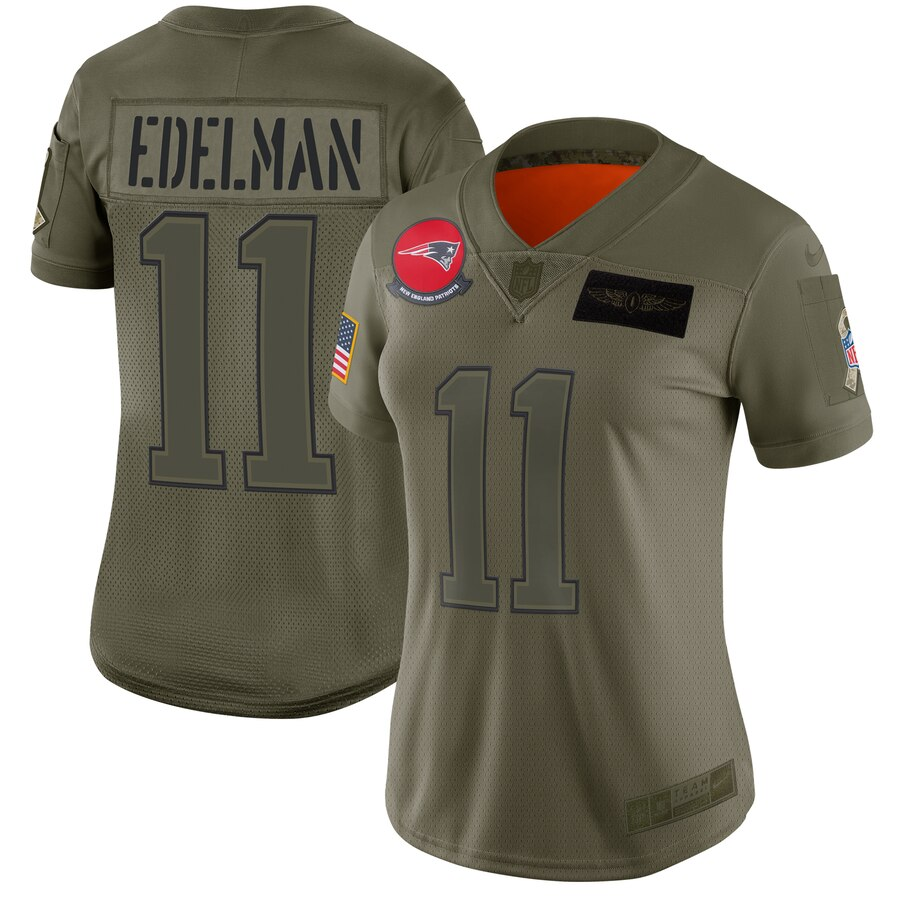 Women's New England Patriots #11 Julian Edelman 2019 Camo Salute To Service Stitched NFL Jersey(Run Small)