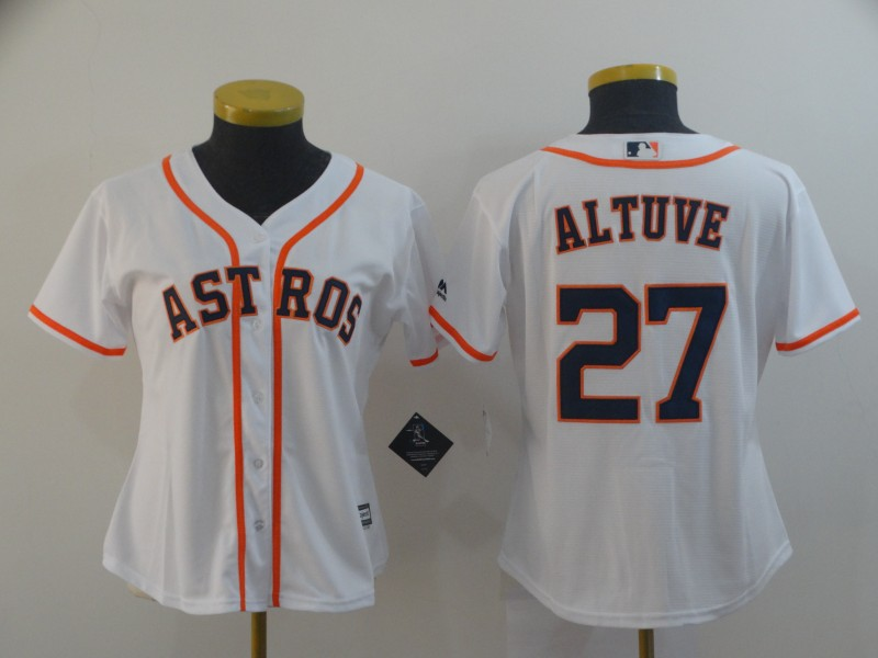 Women's Houston Astros #27 Jose Altuve White Cool Base Stitched MLB Jersey(Run Small)