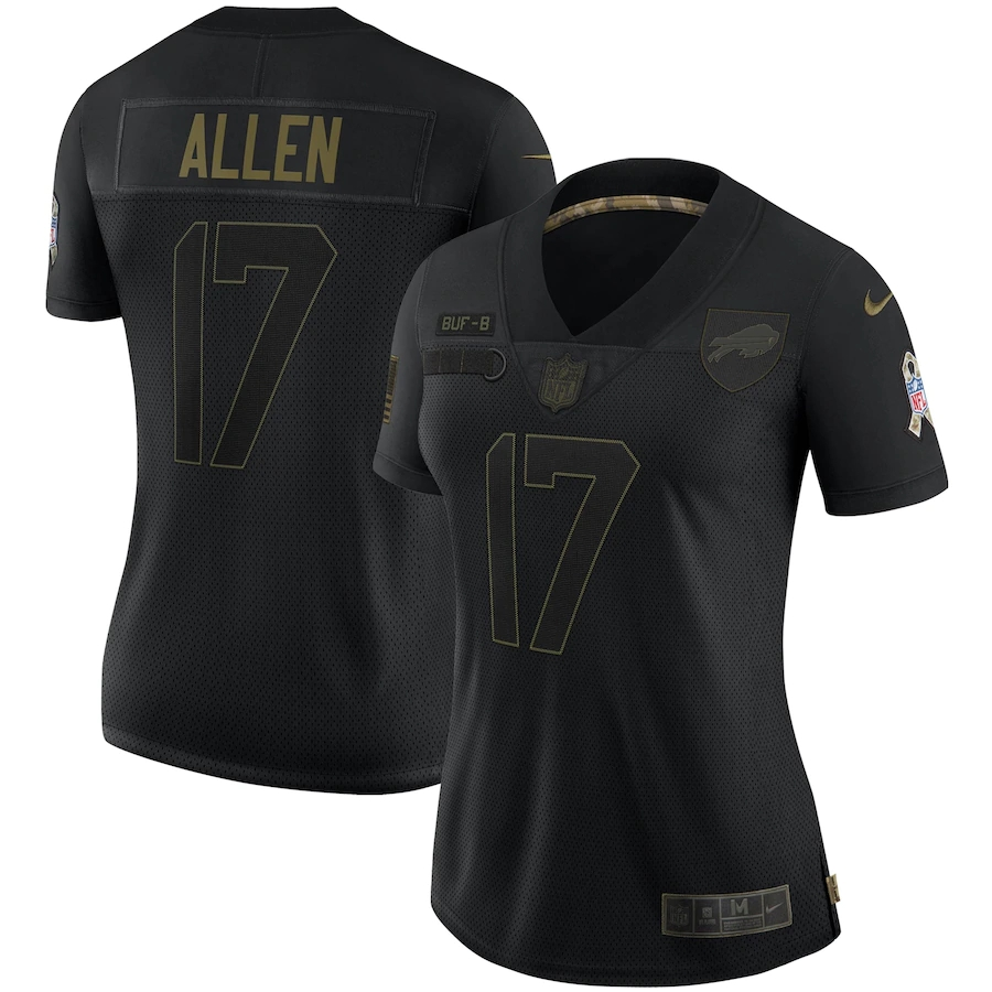 Women's Buffalo Bills #17 Josh Allen Black Salute To Service Limited Stitched Jersey