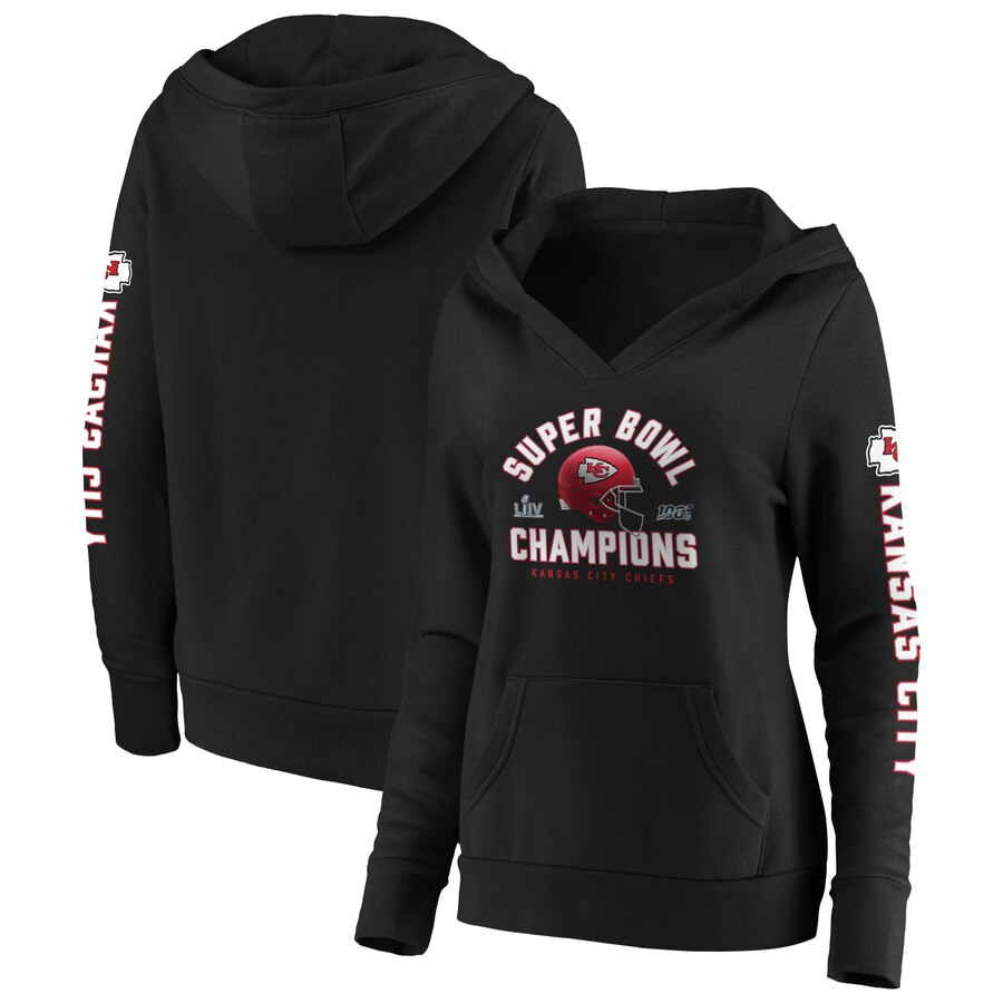 Women's Kansas City Chiefs Black Super Bowl LIV Champions Lateral Pullover Hoodie(Run Small)
