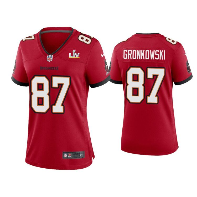 Women's Tampa Bay Buccaneers #87 Rob Gronkowski Red 2021 Super Bowl LV Limited Stitched Jersey(Run Small)