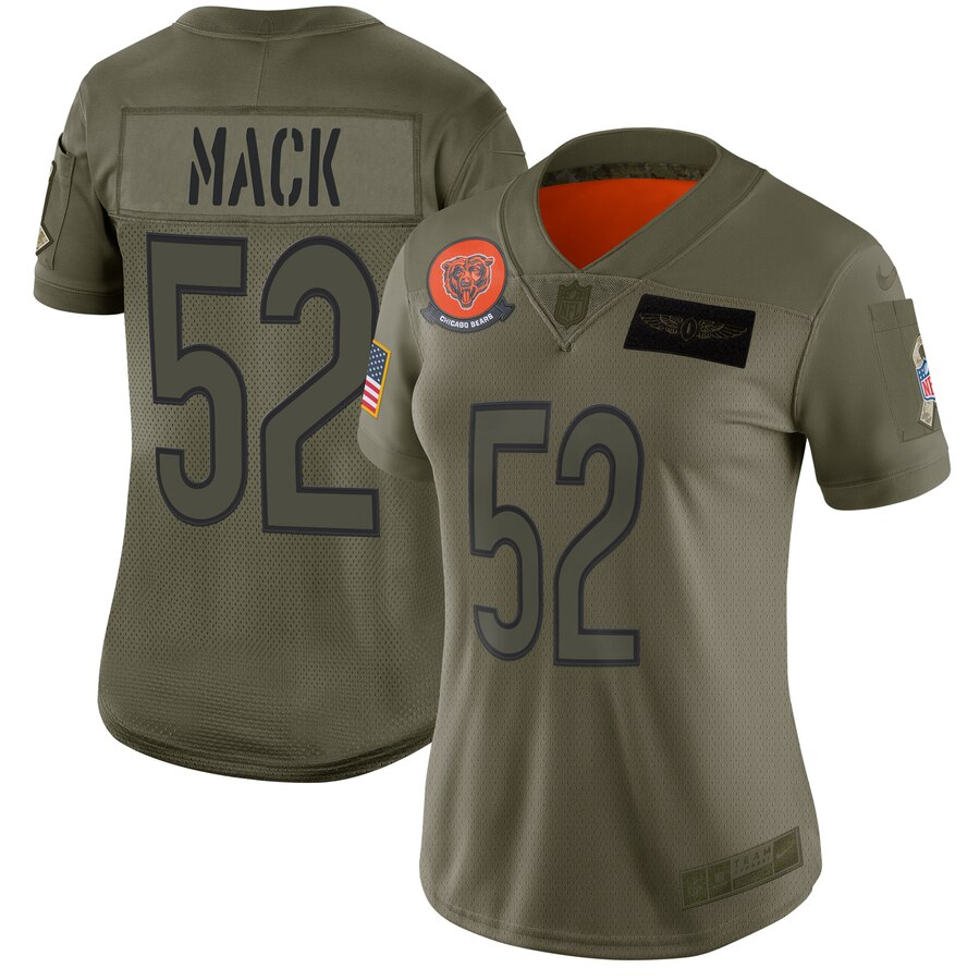 Women's Chicago Bears #52 Khalil Mack 2019 Camo Salute To Service Limited Stitched NFL Jersey(Run Small)
