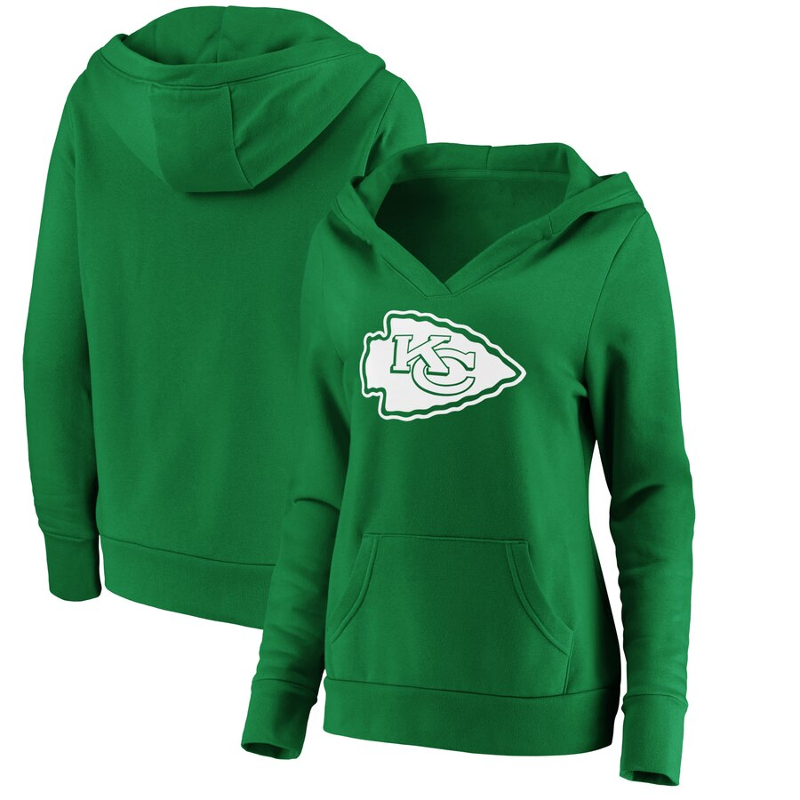 Women's Kansas City Chiefs Green St. Patrick's Day White Logo Pullover Hoodie(Run Small)