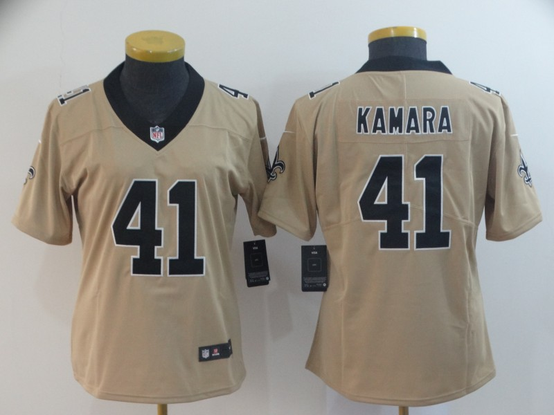 Women's New Orleans Saints #41 Alvin Kamara Gold Inverted Legend Stitched NFL Jersey(Run Small)