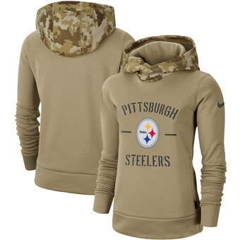 Women's Pittsburgh Steelers Khaki 2019 Salute to Service Therma Pullover Hoodie(Run Small)