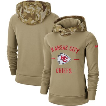 Women's Kansas City Chiefs Khaki 2019 Salute to Service Therma Pullover Hoodie(Run Small)