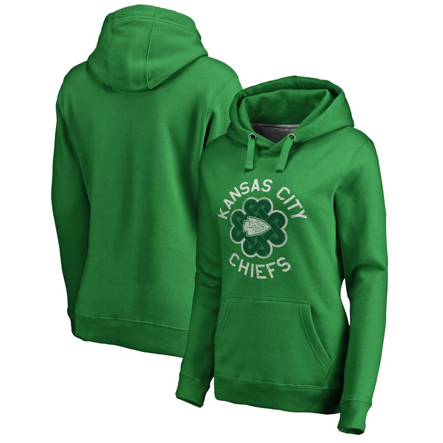 Women's Kansas City Chiefs Green St. Patrick's Day Luck Tradition Pullover Hoodie(Run Small)