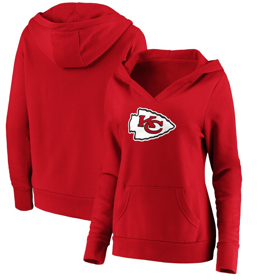 Women's Kansas City Chiefs Red Primary Team Logo V-Neck Pullover Hoodie(Run Small)