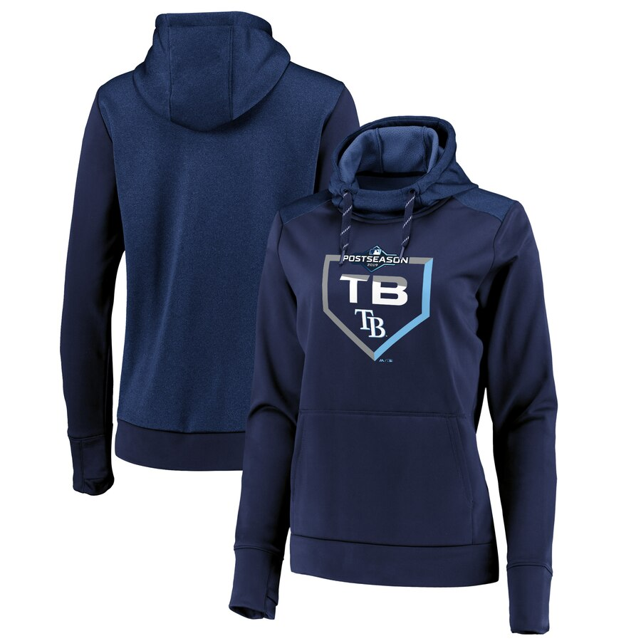 Women's Tampa Bay Rays Majestic Navy 2019 Postseason Dugout Authentic Pullover Hoodie(Runs Small)