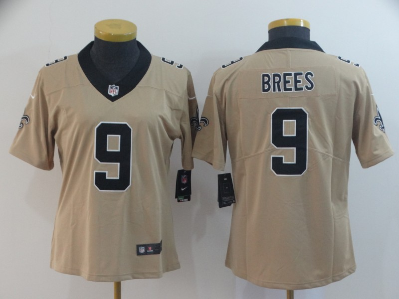 Women's New Orleans Saints #9 Drew Brees Gold Inverted Legend Stitched NFL Jersey(Run Small)