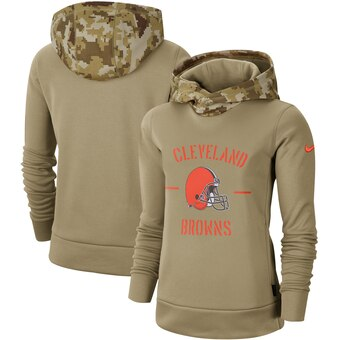 Women's Cleveland Browns Khaki 2019 Salute to Service Therma Pullover Hoodie(Run Small)