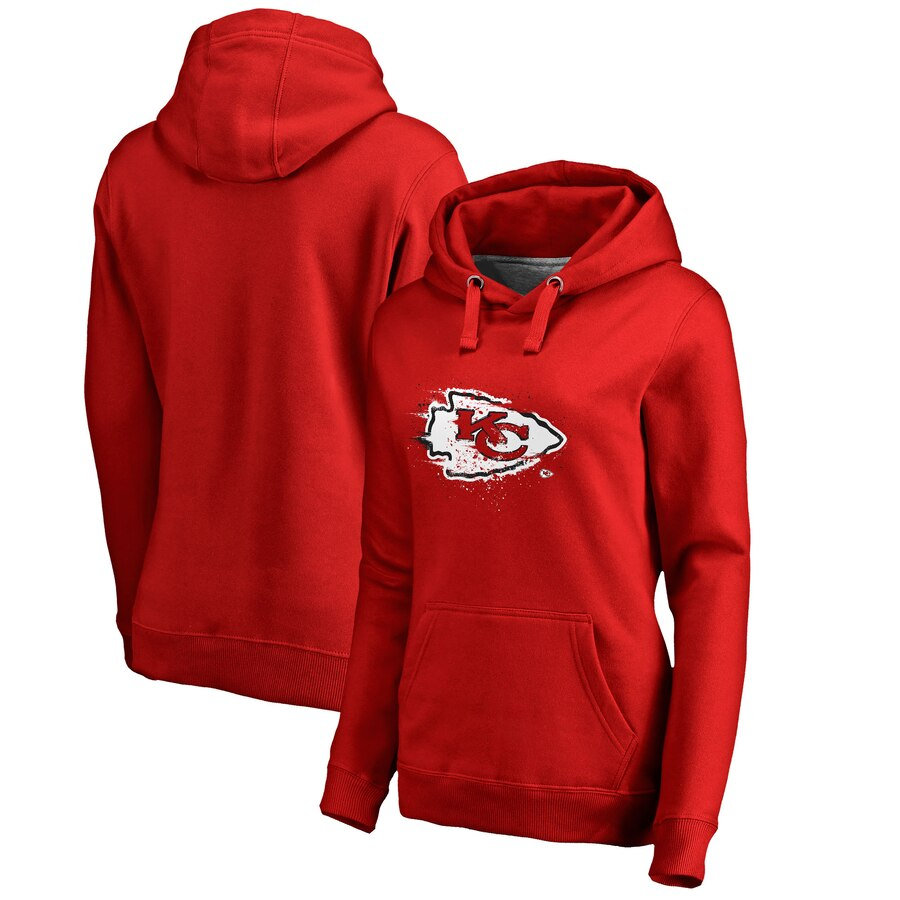 Women's Kansas City Chiefs Red Splatter Logo Pullover Hoodie(Run Small)