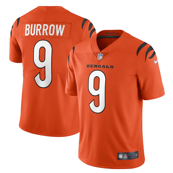 Women's Cincinnati Bengals #9 Joe Burrow 2021 New Orange Vapor Limited Stitched Jersey(Run Small)