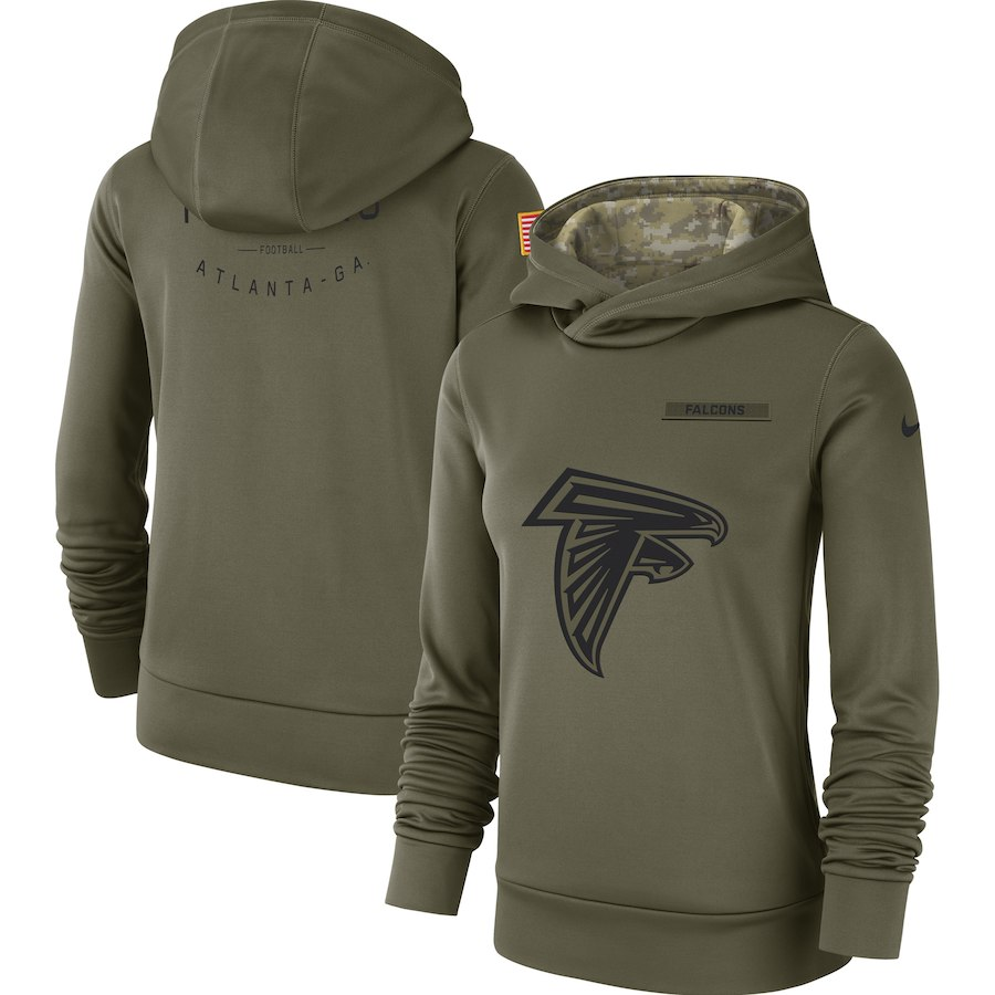 Women's Atlanta Falcons Olive Salute to Service Team Logo Performance Pullover NFL Hoodie