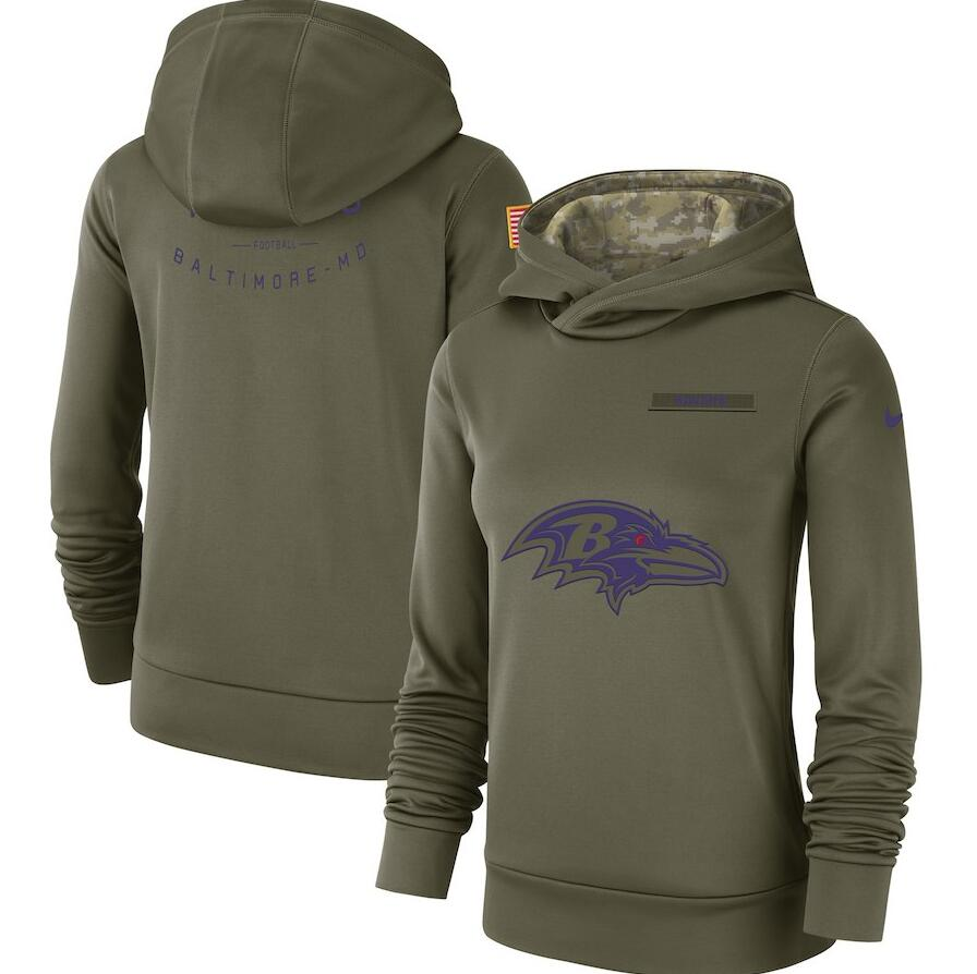 Women's Baltimore Ravens Olive Salute to Service Team Logo Performance Pullover NFL Hoodie