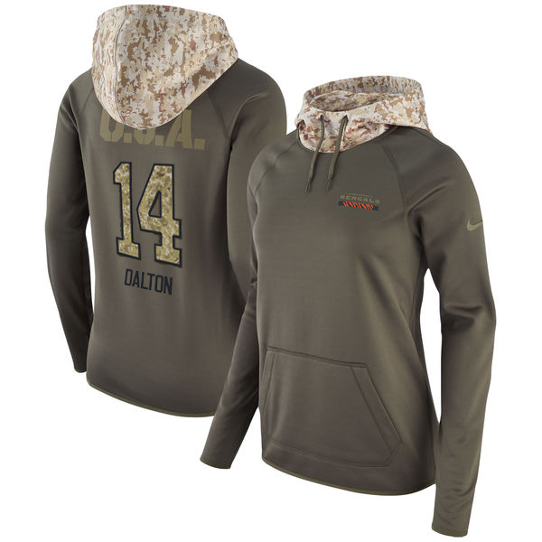 Women's Cincinnati Bengals #14 Andy Dalton Olive Salute to Service Sideline Therma Pullover Hoodie