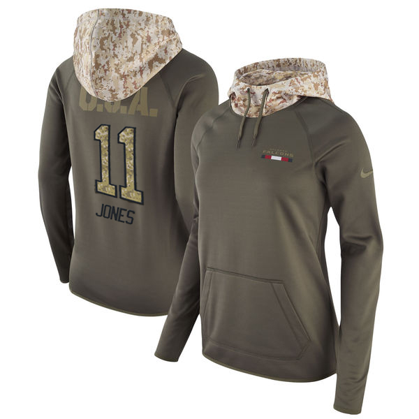 Women's Atlanta Falcons #11 Julio Jones Olive Salute to Service Sideline Therma Pullover Hoodie