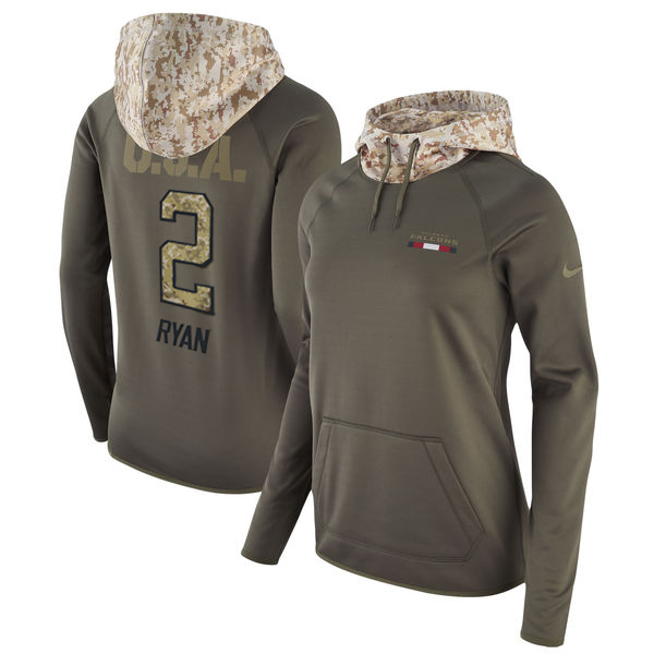 Women's Atlanta Falcons #2 Matt Ryan Olive Salute to Service Sideline Therma Pullover Hoodie