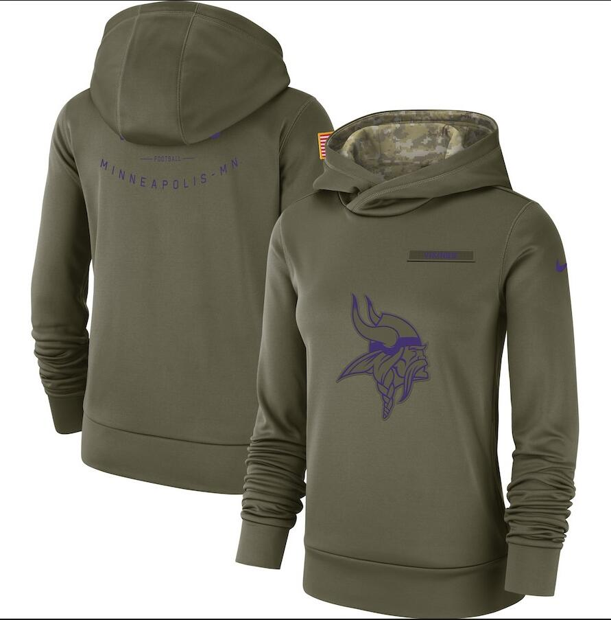 Women's Minnesota Vikings Olive Salute to Service Team Logo Performance Pullover NFL Hoodie