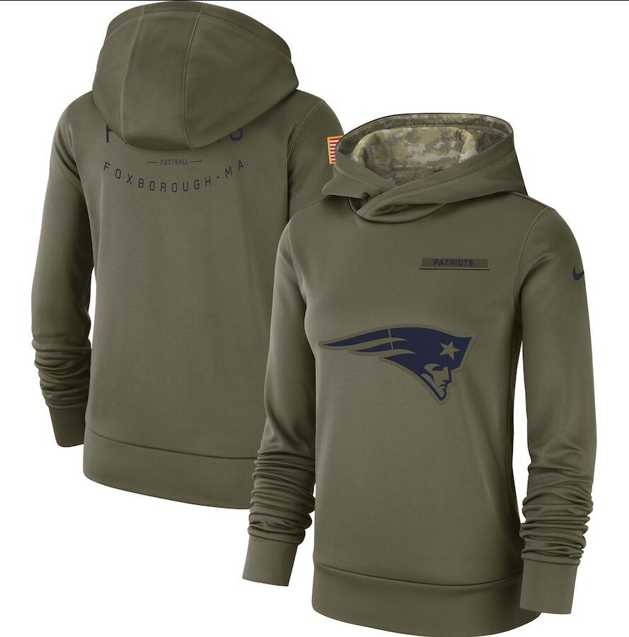 Women's New England Patriots Olive Salute to Service Team Logo Performance Pullover NFL Hoodie