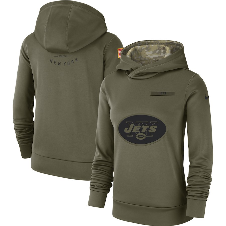 Women's New York Jets Olive Salute to Service Team Logo Performance Pullover NFL Hoodie