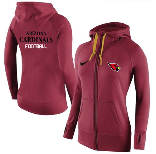 Women's Nike Arizona Cardinals Full-Zip Performance Hoodie Red