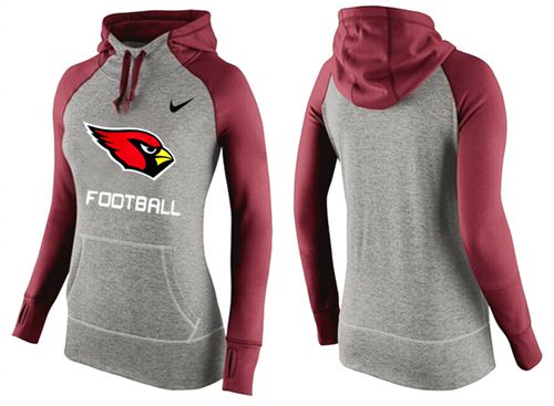 Women's Nike Arizona Cardinals Performance Hoodie Grey & Red_1