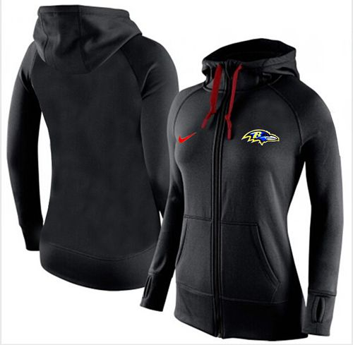 Women's Nike Baltimore Ravens Full-Zip Performance Hoodie Black