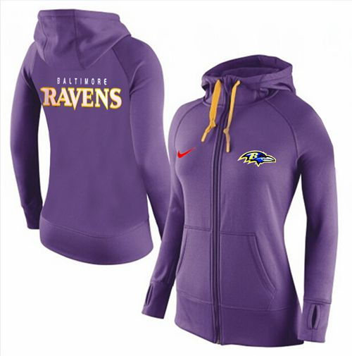Women's Nike Baltimore Ravens Full-Zip Performance Hoodie Purple
