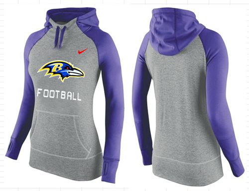 Women's Nike Baltimore Ravens Performance Hoodie Grey & Purple_1