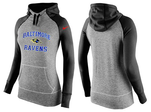 Women's Nike Baltimore Ravens Performance Hoodie Grey & Black_1