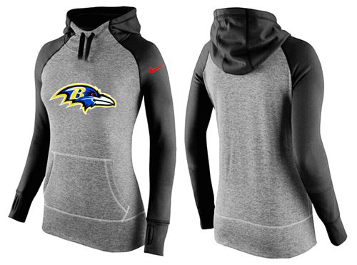 Women's Nike Baltimore Ravens Performance Hoodie Grey & Black_2
