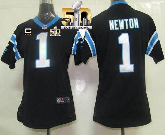 Nike Panthers #1 Cam Newton Black Team Color With C Patch Super Bowl 50 Women's Stitched NFL Elite Jersey