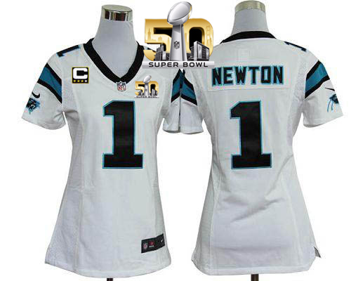 Nike Panthers #1 Cam Newton White With C Patch Super Bowl 50 Women's Stitched NFL Elite Jersey